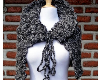 1 Only HIGH-NECKED CAPELET - black / grey - wraparound - shawl - cowl - womens teen girls - gift