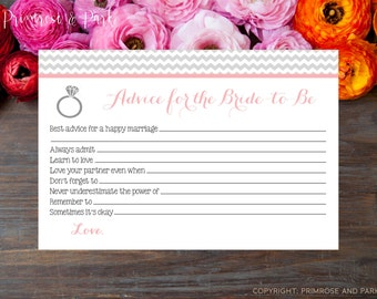 Advice Card for Bridal Shower // Bride-to-Be Advice Card // Printable Wedding Advice Cards // Best Wishes Card // Printable Digital File