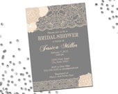 Lace Bridal Shower Invitation - Flowers and Lace - Neutrals - Grey and Cream - Classic Layout - Printable