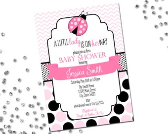 Little Lady Ladybug Baby Shower Invitation - Ladybug Baby Shower - Chevron Stripes and Polka Dots - Pink and Black - Printable