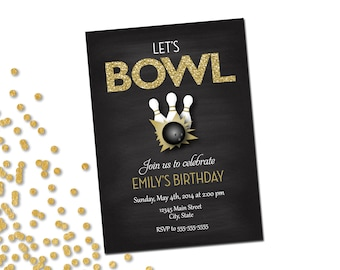 Bowling Party Invitation - Let's Bowl - Gold Glitter and Chalkboard - DIY - Printable