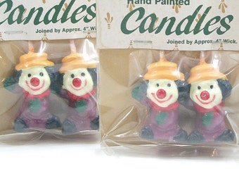 Vintage Handpainted Clown Candles