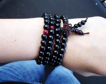 Buddhist Bracelet, Mens Mala, Mala Beads, Prayer Beads, 108 Mala Beads, Wood Bead Mala, Black Wood Bracelet, Mala Necklace, Mala for Men,