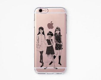 iPhone Rubber Case - Girls - iPhone 6s case, iPhone 6 case, iPhone X case, iPhone 7 case - Clear Flexible Rubber Silicone case J10