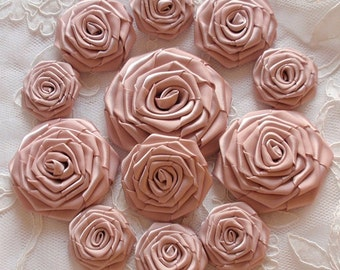 12  Handmade  Ribbon Roses MY-400-172 Vanilla Ready To Ship