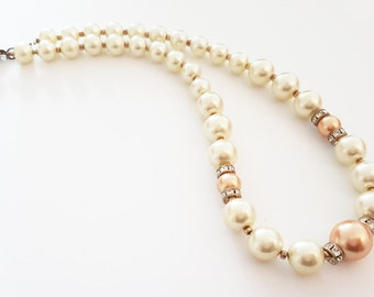 Vintage Faux Pearl Necklace with Peach Accents