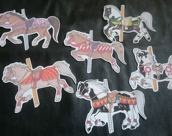 6 Original Artwork Planner Stickers Large Carousel Horses Ponies