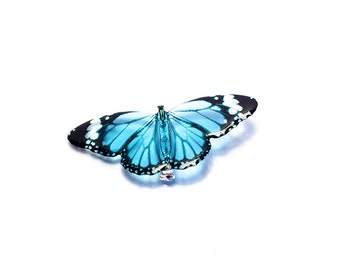 Blue tiger butterfly brooch.  Made in UK.