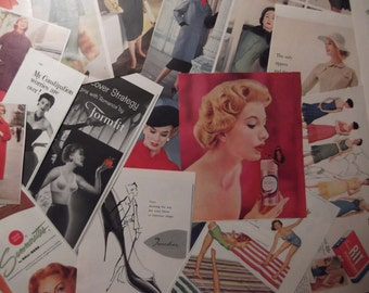 WOMEN'S AD BUNDLE Original Vintage Fashion And Beauty Ads For Crafts Collage