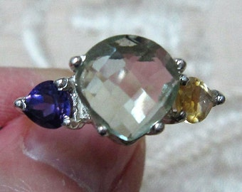 Green Amethyst and Citrine and Purple Amethyst Silver Ring Size 9
