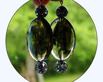 Beaded Earrings, long earrings, statement earrings, black earrings, statement jewelry, hook earrings, shattered marbles, Item #TLER-0116