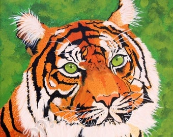 Tiger wall art, Tiger Painting print, Home office decor, Ready to frame, Bengal tiger print, archival print, standard print,  Item #GETP1