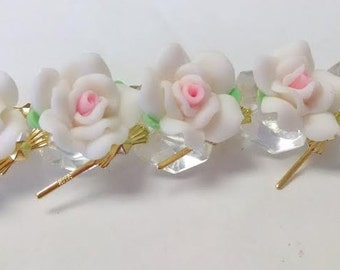 12 White and Pink Chandelier Roses 18mm Shabby Chic Chandelier Crystals