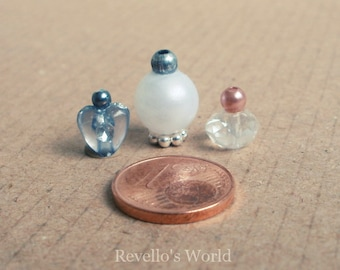 3 perfume bottles, perfume flask crystal with silver details, dollhouse miniature 1/12