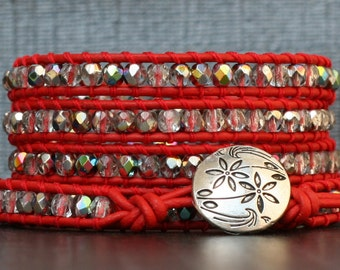 red leather bracelet - clear iridescent crystal and red leather wrap bracelet - bohemian jewelry - silver flower button