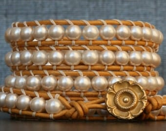 READY TO SHIP wrap bracelet- cream glass pearls on gold leather - bohemian wedding jewelry