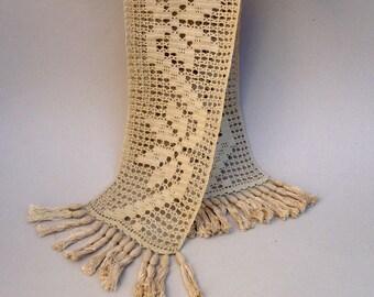Beige Table Runner, Golden Beige Crochet , Crochet Lace Table Runner, Long Narrow  Table