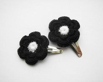 Flower hair clips, crochet black flowers, set of 2, Girls hair accessories