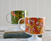 Vintage Floral Coffee Mug Pair - Retro Orange and Green Flowers