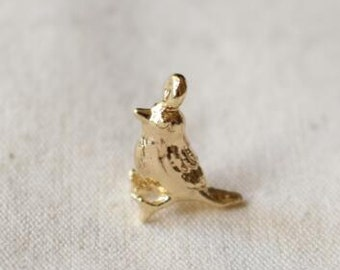 6 pcs of meal birds charm 15mm tall-1927-18k gold
