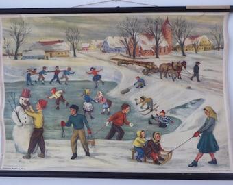 Vintage Winter Wonderland School Chart - Winter Snow Educational Chart - 1950s