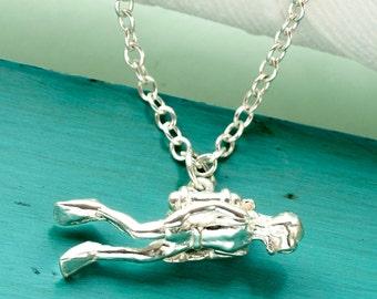 Scuba Diver Pendant in Sterling Silver.