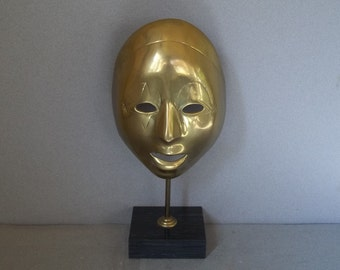 Brass Decorative Theatre Mask on Marble Stand - Brass Masquerade Mask - Molded Brass Theatre Mask - Art Deco-Style Brass Mask