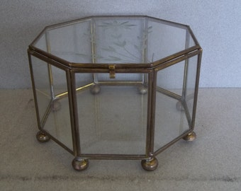 Vintage Etched Glass Display Case - Glass & Brass Display Case - Glass Box - Jewelry Box - Display Box