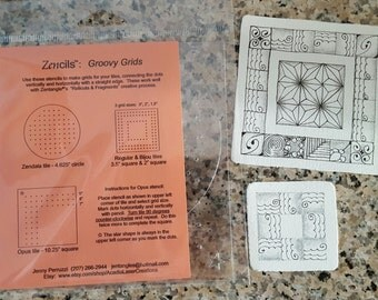 Groovy Grids  set of 3 stencils