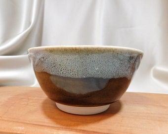 Porcelain Bowl / Gold with White Blue Accent / Wheel Thrown Porcelain / Nuka over Ash Tenmoku Glaze / Ceramic Cereal Bowl / Soup Bowl