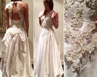 Halter lace beaded ball gown satin wedding dress