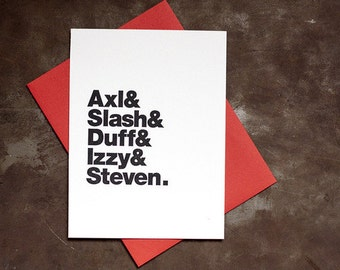 Guns n' Roses Letterpress Card