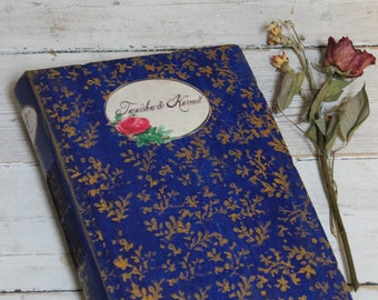 Rustic Rose Wedding Photo Album, Red Blue hand bound Scrapbook Album, Wedding Guest Book, Valentines Gift - A4 8x11 inches Made To Order