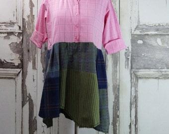 Tunic Dress Upcycled Clothing  Eco Fashion Lagenlook Country Dress Boho Chic Large