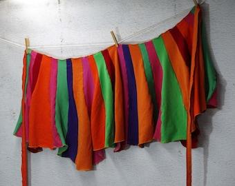 Rainbow Wrap Skirt Burning Man Festival Wear Wearable Art Upcycled Clothing Eco Fashion