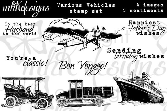 Various Vehicles Digital Stamp Set