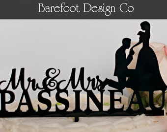 Personalized Acrylic  Silhouette  with dog Wedding Cake Topper