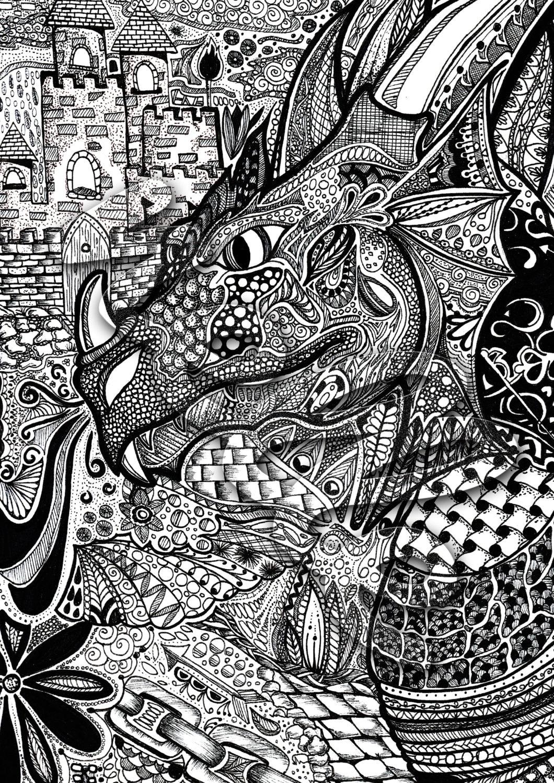 Printable Dragon zentangle colouring page adults or kids