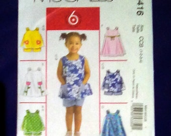 Uncut Pattern - McCall's M5416 - Toddlers top, dress and shorts = size 1,2,3,4