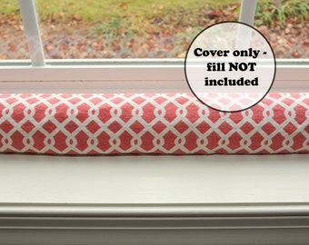 draft dodger door stopper cover, custom length draught excluder sleeve, coral pink white snake, wind guard, trellis, geometric home decor