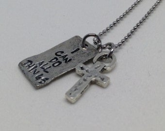 Phil 4:13 I can do all things, hand stamped necklace with cross charm