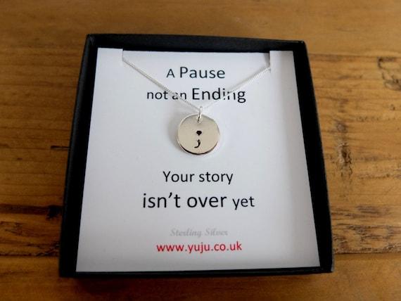 Semicolon Charm Necklace, Survivor Semicolon Disc Necklace, Silver Semicolon Necklace, Motivational Jewellery, Your Story isn't Over Yet