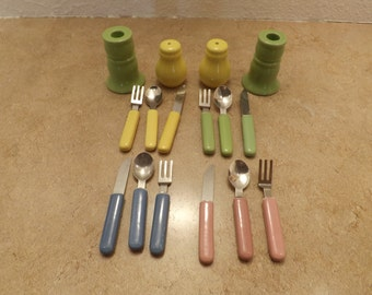 Small Porcelain Set Salt and Pepper, Candle Holders and Flatware