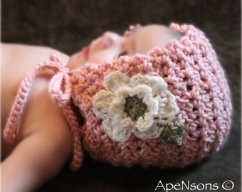 Newborn Baby Crochet Flower Bonnet Photo Prop