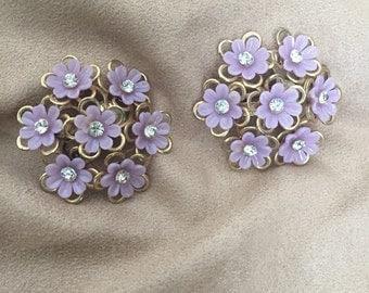Vintage floral clip ons