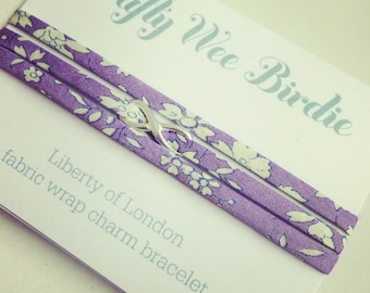 Liberty fabric bracelet purple wrap Bracelet with sterling silver infinity charm , gift for her