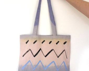 Dip dyed hand painted zig zag tote
