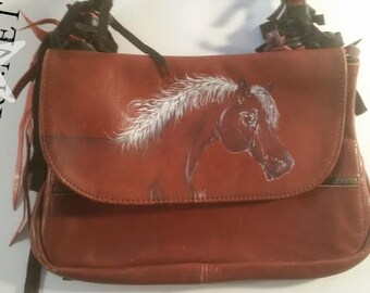 Vintage Hand Painted Horse Horse Purse with Fringe