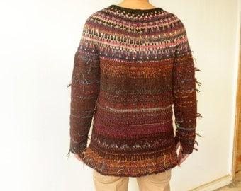 Handmade Icelandic style brown striped men sweater