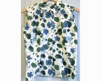 Floral Print Sleeveless Blouse w/ Pan Collar 50's - 60's  (m medium)